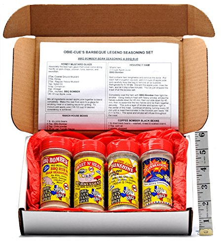 Obie-Cue's Texas Gift Box, 4 bottles – BBQ Legend Assortment (Sweet 'n Heat, Celerbration, Sunshine & BBQ Bomber)