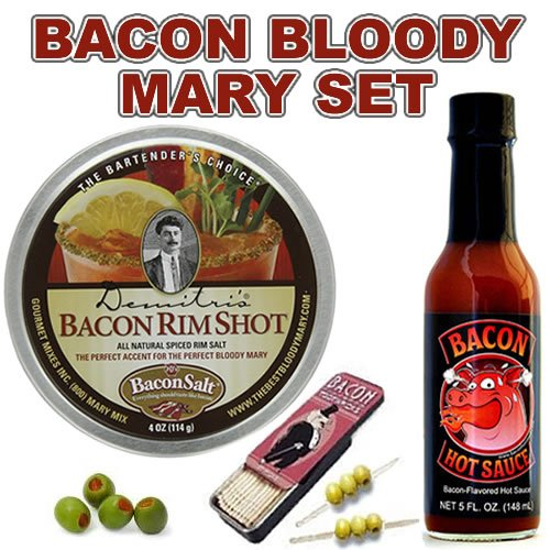 Bacon Bloody Mary / Bloody Caesar Gift Pack (3pc Set) – Bacon Cocktail Rim Salt, Bacon Hot Sauce & Bacon Toothpicks