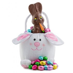 Hunting Easter Bunny Gourmet Chocolate Eggs Gift Basket Filled with Gourmet Foiled Chocolates Eggs