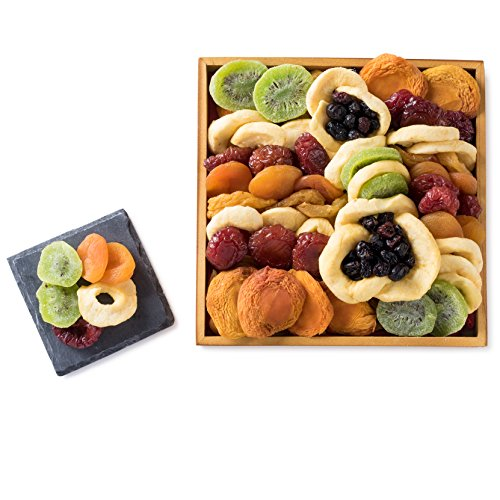 Assorted Fruit Mosaic Dried Fruit Wooden Square Gift Tray,Dried Fruit Gift,Healthy Gift Basket