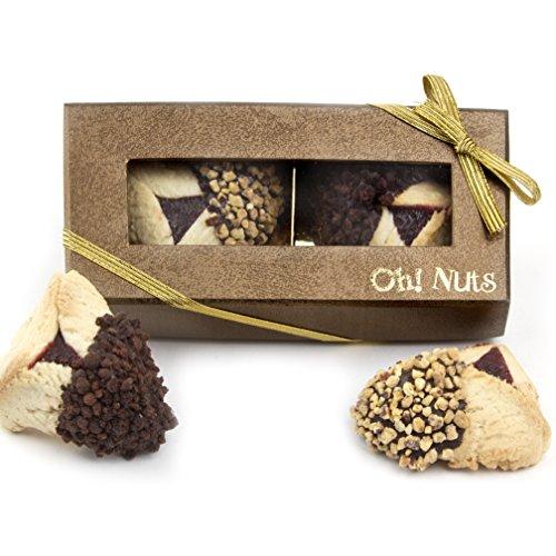 Purim Gift, Purim Hamantasch Gift, Chocolate Dipped Hamantashen Gift Box – Oh! Nuts (2 Pc. Chocolate Dipped Hamantaschen Gift Box)