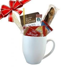 Cottage Lane Coffee Mug Gift Set with Starbucks Via Coffee, Starbucks Hot Cocoa, & Tazo Tea