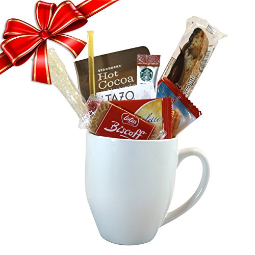 Cottage Lane Coffee Mug Gift Set with Starbucks Via Coffee, Starbucks Hot Cocoa, & Tazo Tea