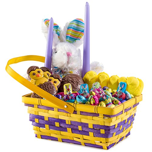 Happy Easter, Beautiful Woven Wooden Deluxe Gift Basket, Includes Plush Bunny, Peeps Candy, Chocolate, Candles by Benevelo Gifts