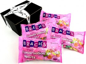 Brach's Heartlines Tiny Conversation Hearts, 8 oz Bags in a BlackTie Box (Pack of 4)