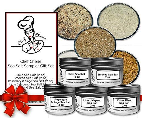 Chef Cherie's Sea Salt Sampler Gift Set – Contains 5 2 oz. Tins