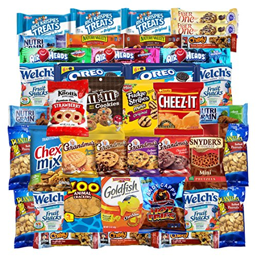Chips Cookies Candies & Snacks Care Package (40 Count) by Variety Fun