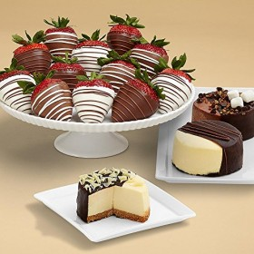 Shari's Berries – Dipped Cheesecake Trio and Full Dozen Swizzled Strawberries