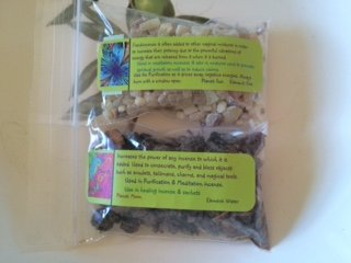 Resins: Frankincense and Myrrh gum ~ Wicca ~ 1/2 oz ea ~ Ravenz Roost resins with special info on label