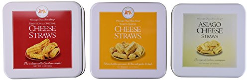 Mississippi Cheese Straw Factory Three Gift Tin Cheese Straw Assortment: Traditional Cheddar, Three-Cheese and Asiago, 30oz