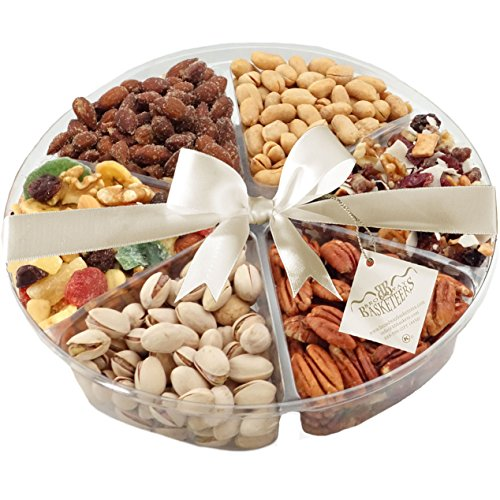Broadway Basketeers Kosher Natural Dried Fruits & Nuts Gift Tray with Smokehouse Flavored Almonds, Salted & Roasted Peanuts, Cape Cod Cranberry Mix, Pecan Halves, Salted Pistachios and a Dried Fruit Medley, 2 Pounds