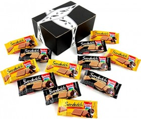 Loacker Sandwich Crispy Wafers 2-Flavor Variety: Six 0.88 oz Packages Each of Chocolate and Dark Chocolate in a BlackTie Box (12 Items Total)