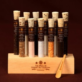 Gourmet Sea Salt Sampler 2 – 11 Artisanal Salts in a handmade Wooden Base – Explore the world of salt